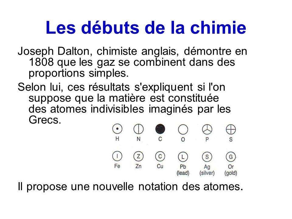 Les débuts de la chimie Joseph Dalton, chimiste anglais, démontre en 1808 que les gaz se combinent dans des proportions simples. Selon lui, ces résult