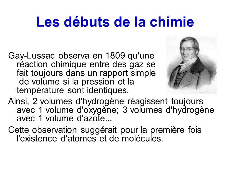 Les débuts de la chimie Gay-Lussac observa en 1809 qu une réaction chimique entre des gaz se fait toujours dans un rapport simple de volume si la pression et la température sont identiques.