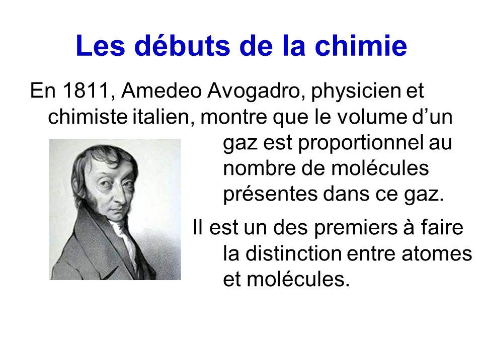 Les débuts de la chimie En 1811, Amedeo Avogadro, physicien et chimiste italien, montre que le volume dun gaz est proportionnel au nombre de molécules présentes dans ce gaz.