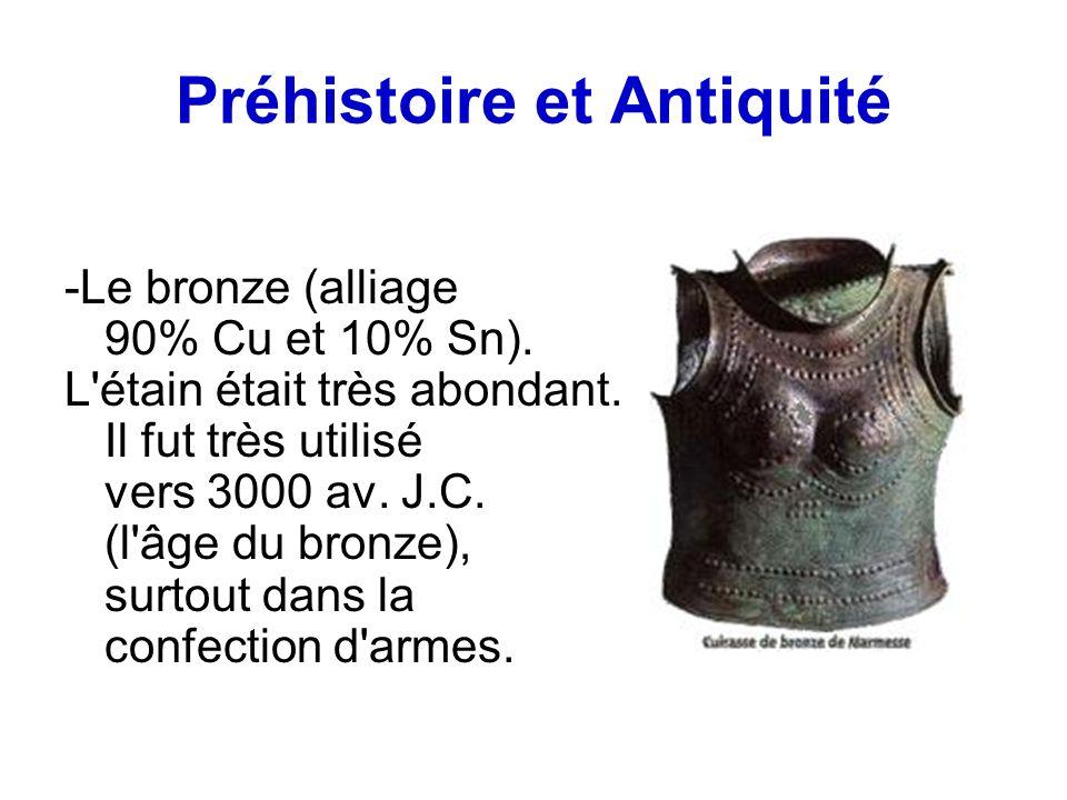 Préhistoire et Antiquité -Le bronze (alliage 90% Cu et 10% Sn). L'étain était très abondant. Il fut très utilisé vers 3000 av. J.C. (l'âge du bronze),