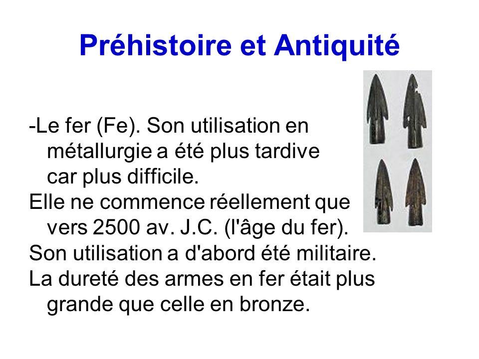 Préhistoire et Antiquité -Le fer (Fe). Son utilisation en métallurgie a été plus tardive car plus difficile. Elle ne commence réellement que vers 2500