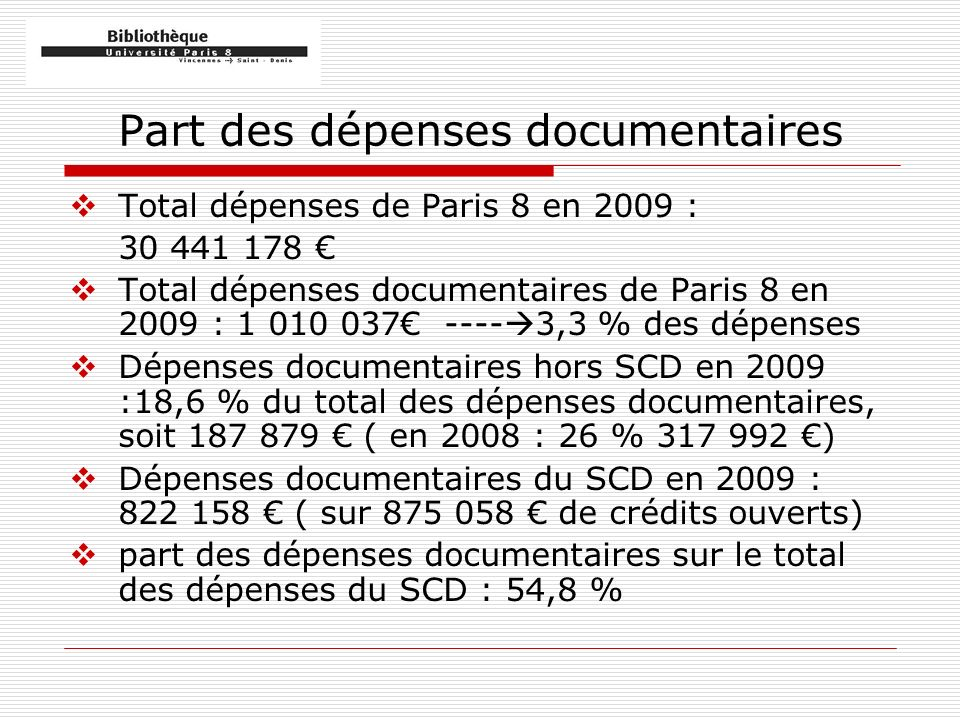 Part des dépenses documentaires Total dépenses de Paris 8 en 2009 : 30 441 178 Total dépenses documentaires de Paris 8 en 2009 : 1 010 037 ---- 3,3 % des dépenses Dépenses documentaires hors SCD en 2009 :18,6 % du total des dépenses documentaires, soit 187 879 ( en 2008 : 26 % 317 992 ) Dépenses documentaires du SCD en 2009 : 822 158 ( sur 875 058 de crédits ouverts) part des dépenses documentaires sur le total des dépenses du SCD : 54,8 %