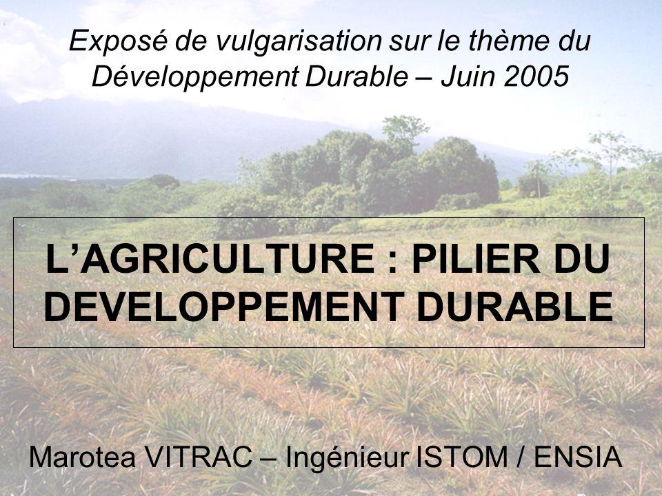 LAGRICULTURE : PILIER DU DEVELOPPEMENT DURABLE Marotea VITRAC – Ingénieur ISTOM / ENSIA Exposé de vulgarisation sur le thème du Développement Durable