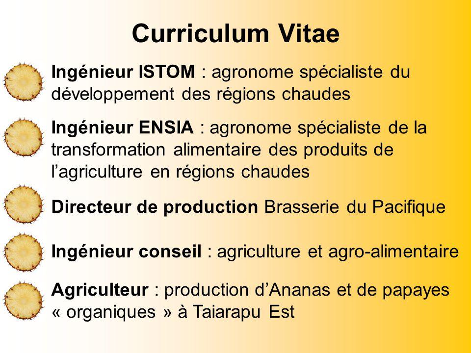 Curriculum Vitae Ingénieur ISTOM : agronome spécialiste du développement des régions chaudes Ingénieur ENSIA : agronome spécialiste de la transformati