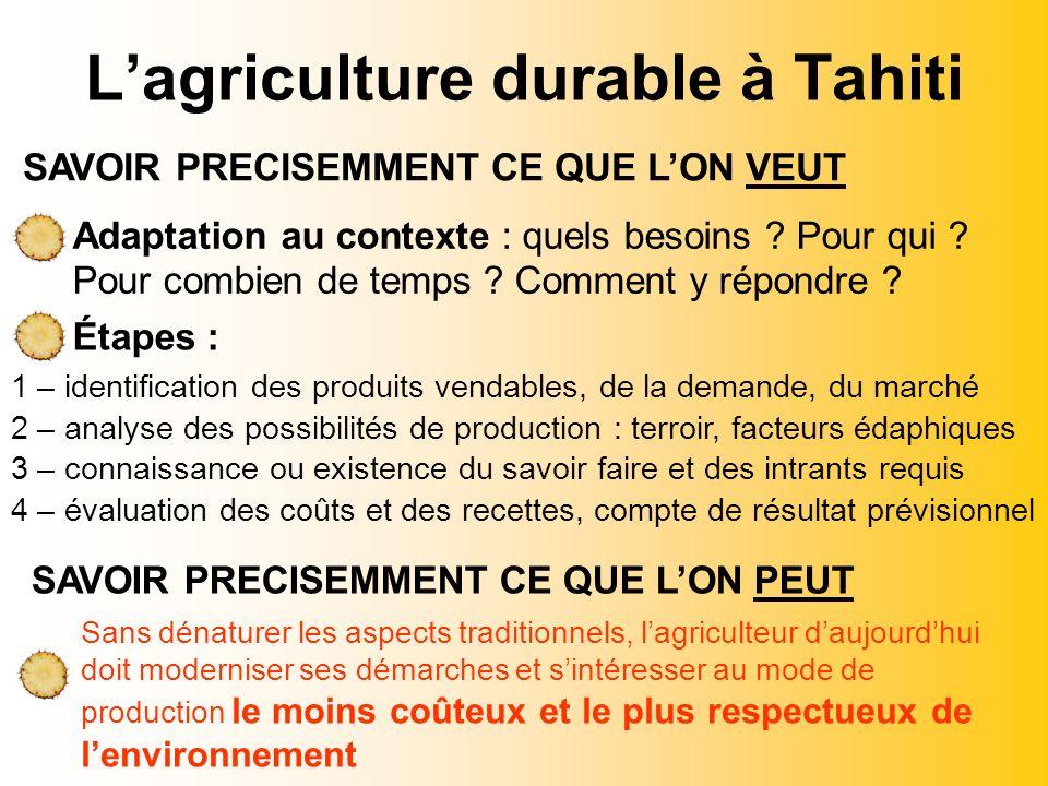 Lagriculture durable à Tahiti Adaptation au contexte : quels besoins ? Pour qui ? Pour combien de temps ? Comment y répondre ? Étapes : 1 – identifica