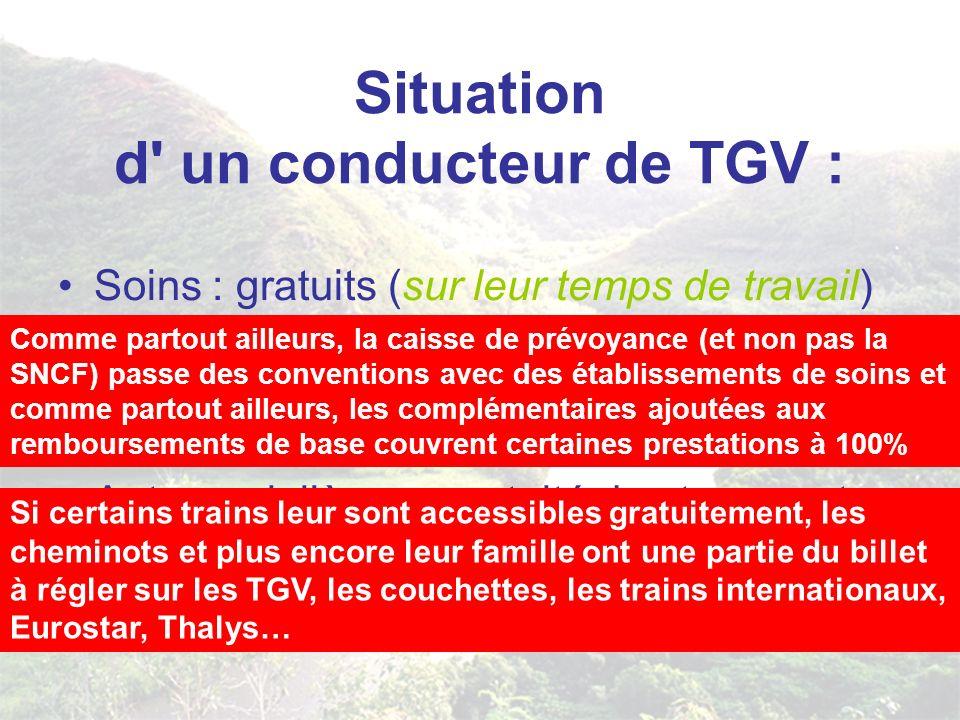 Situation d un conducteur de TGV : Soins : gratuits (sur leur temps de travail) auprès d un des 15.900 établissements de soins agrées ou ils sont couverts à..