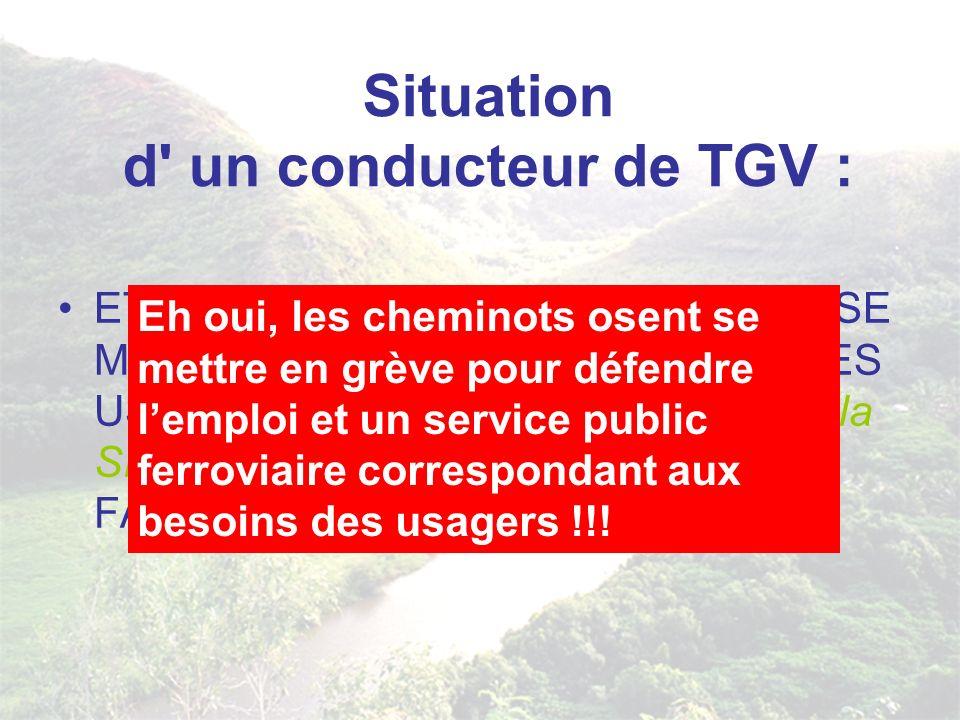 Situation d un conducteur de TGV : ET L EMPLOI A VIE...