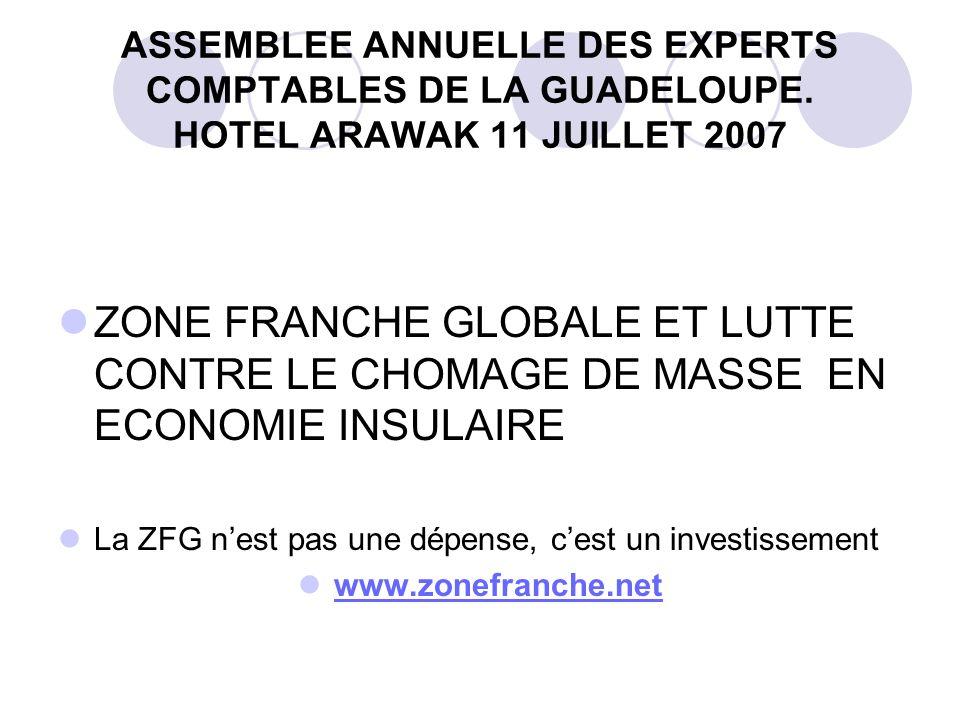 ASSEMBLEE ANNUELLE DES EXPERTS COMPTABLES DE LA GUADELOUPE. HOTEL ARAWAK 11 JUILLET 2007 ZONE FRANCHE GLOBALE ET LUTTE CONTRE LE CHOMAGE DE MASSE EN E