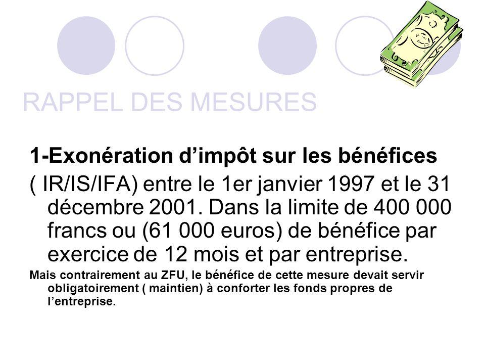 RAPPEL DES MESURES 1-Exonération dimpôt sur les bénéfices ( IR/IS/IFA) entre le 1er janvier 1997 et le 31 décembre 2001. Dans la limite de 400 000 fra