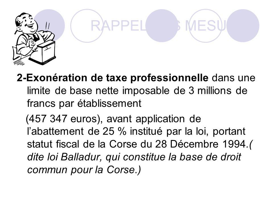 RAPPEL DES MESURES 2-Exonération de taxe professionnelle dans une limite de base nette imposable de 3 millions de francs par établissement (457 347 euros), avant application de labattement de 25 % institué par la loi, portant statut fiscal de la Corse du 28 Décembre 1994.( dite loi Balladur, qui constitue la base de droit commun pour la Corse.)