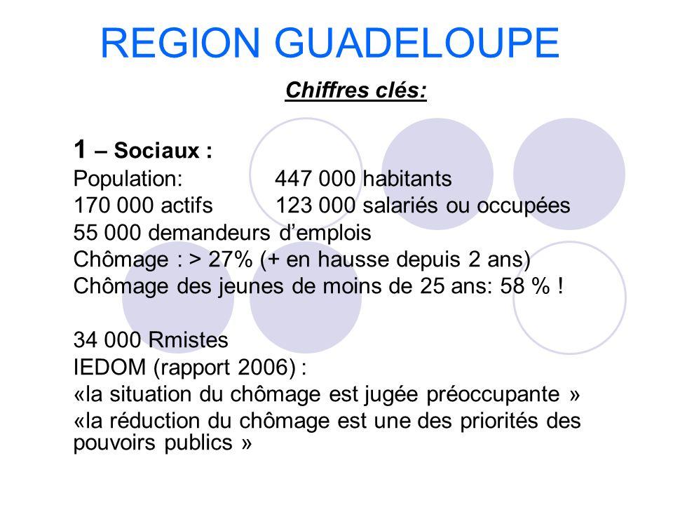 1 – Sociaux : Population: 447 000 habitants 170 000 actifs123 000 salariés ou occupées 55 000 demandeurs demplois Chômage : > 27% (+ en hausse depuis