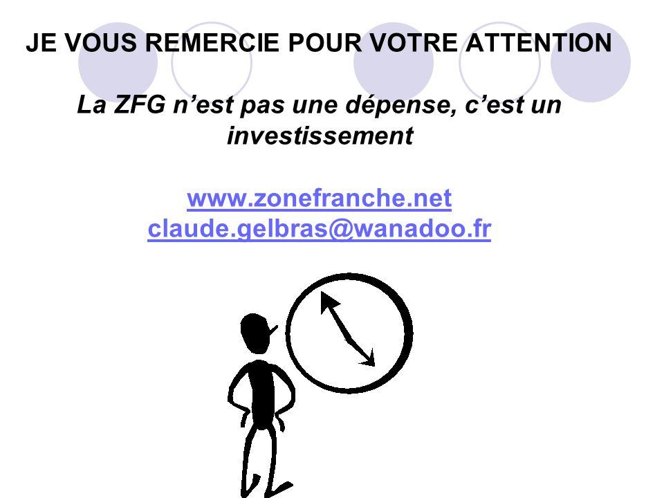 JE VOUS REMERCIE POUR VOTRE ATTENTION La ZFG nest pas une dépense, cest un investissement www.zonefranche.net claude.gelbras@wanadoo.fr www.zonefranch