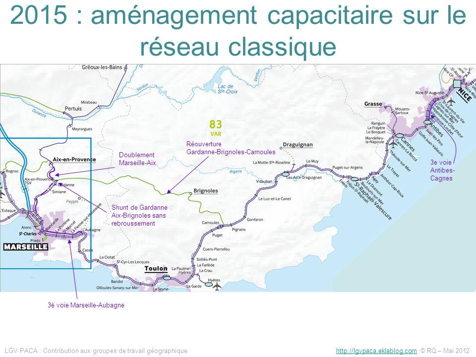 Doublement Marseille-Aix 3e voie Antibes- Cagnes 3è voie Marseille-Aubagne Shunt de Gardanne : Aix-Brignoles sans rebroussement Réouverture Gardanne-B