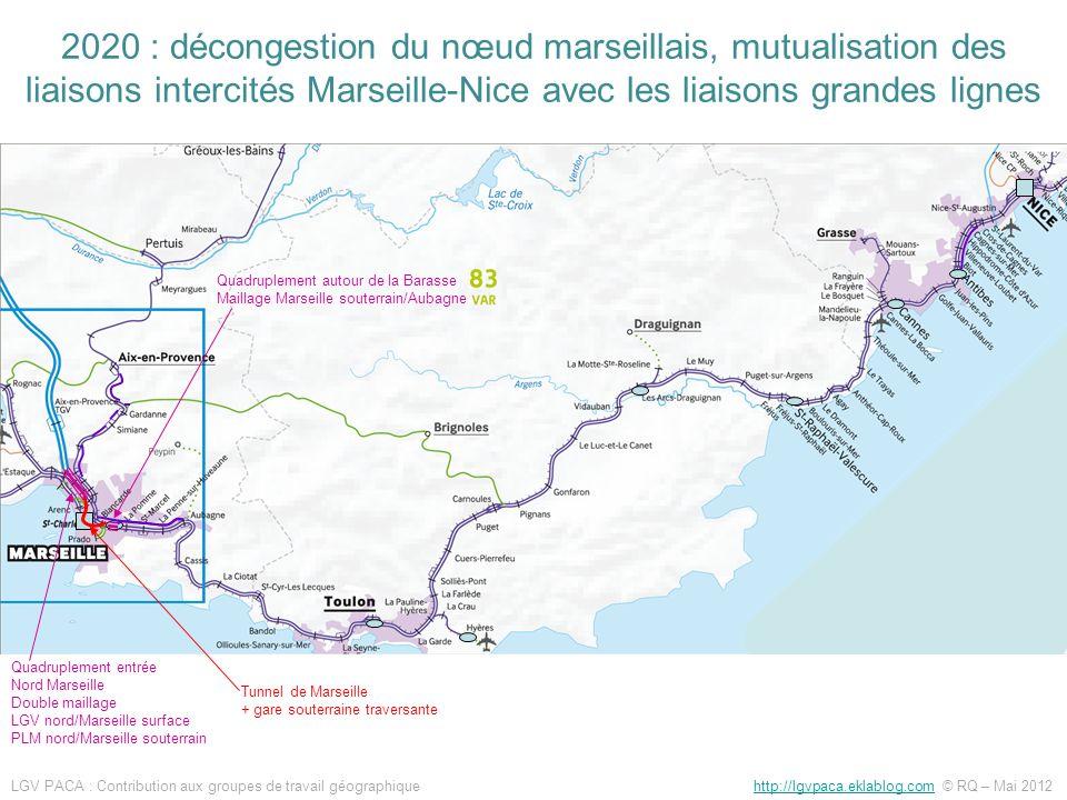 Quadruplement entrée Nord Marseille Double maillage LGV nord/Marseille surface PLM nord/Marseille souterrain Tunnel de Marseille + gare souterraine tr