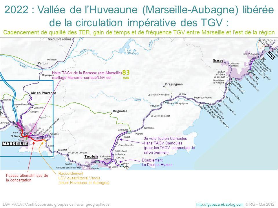 3e voie Toulon-Carnoules Halte TAGV Carnoules (pour les TAGV empruntant le sillon permien) Raccordement LGV ouest/littoral Varois (shunt Huveaune et A