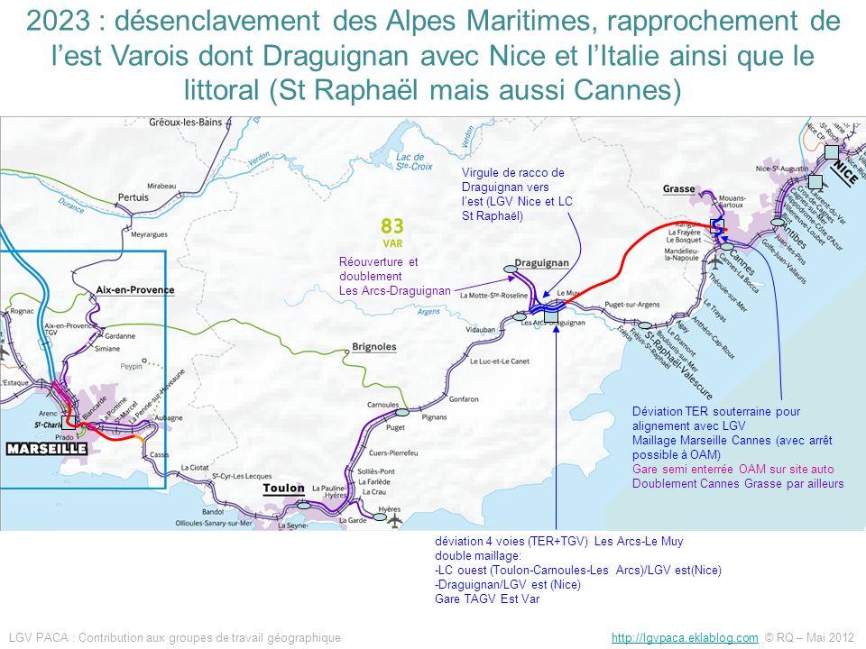 Réouverture et doublement Les Arcs-Draguignan Virgule de racco de Draguignan vers lest (LGV Nice et LC St Raphaël) Déviation TER souterraine pour alig