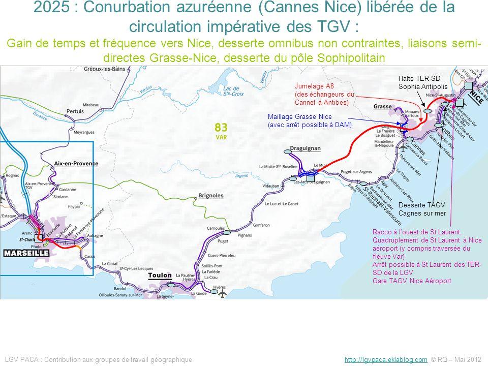 Jumelage A8 (des échangeurs du Cannet à Antibes) Maillage Grasse Nice (avec arrêt possible à OAM) Halte TER-SD Sophia Antipolis Racco à louest de St L