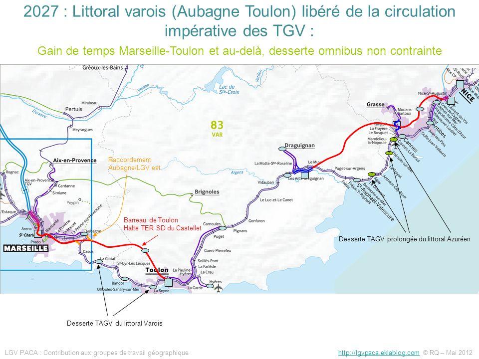 ? ? ? Barreau de Toulon Halte TER SD du Castellet Raccordement Aubagne/LGV est Desserte TAGV du littoral Varois Desserte TAGV prolongée du littoral Az