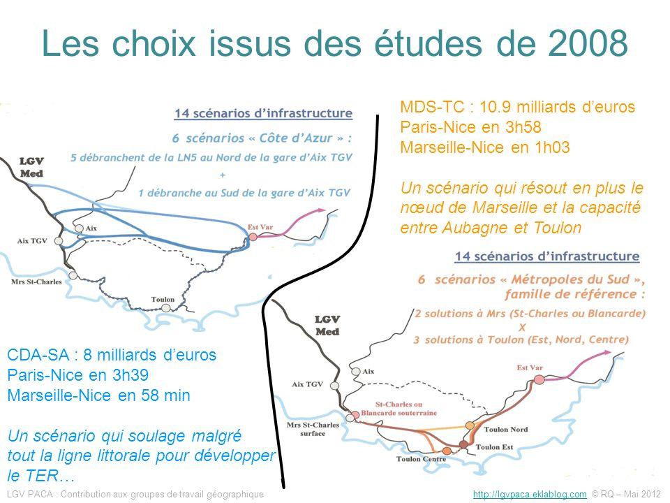 Les choix issus des études de 2008 CDA-SA : 8 milliards deuros Paris-Nice en 3h39 Marseille-Nice en 58 min Un scénario qui soulage malgré tout la lign