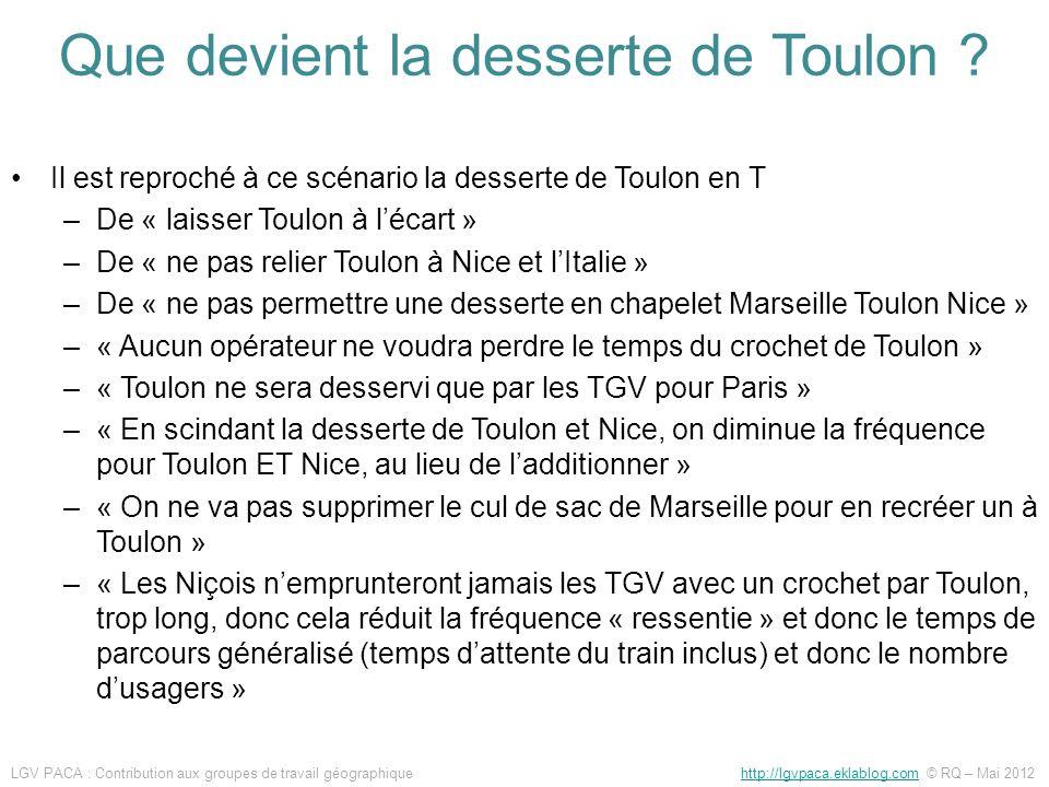 Il est reproché à ce scénario la desserte de Toulon en T –De « laisser Toulon à lécart » –De « ne pas relier Toulon à Nice et lItalie » –De « ne pas p