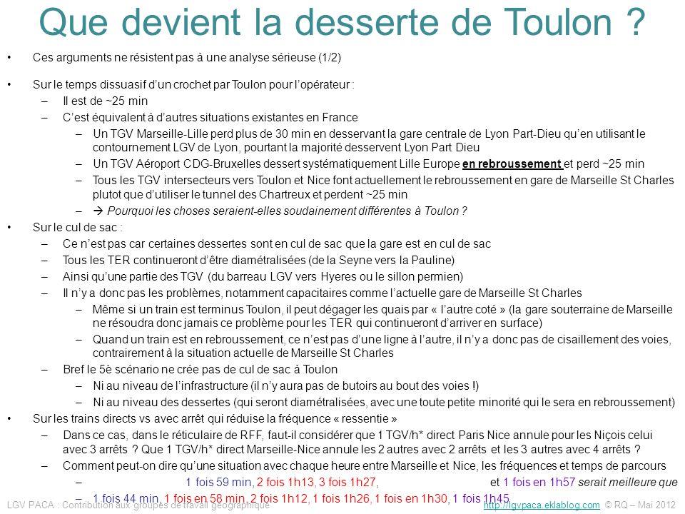Ces arguments ne résistent pas à une analyse sérieuse (1/2) Sur le temps dissuasif dun crochet par Toulon pour lopérateur : –Il est de ~25 min –Cest é