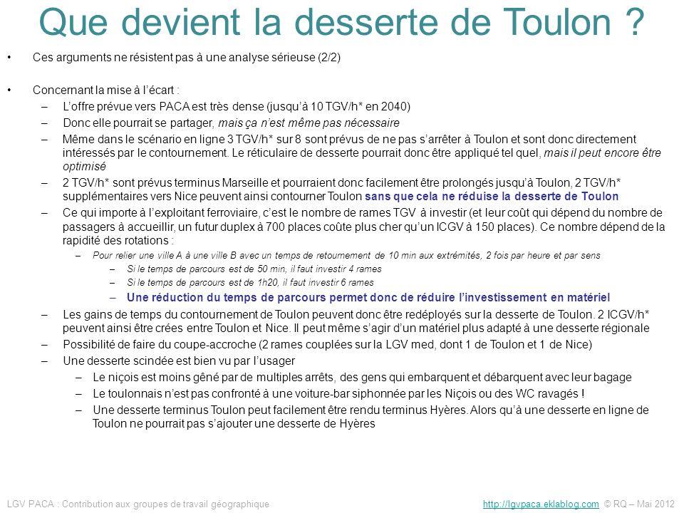 Ces arguments ne résistent pas à une analyse sérieuse (2/2) Concernant la mise à lécart : –Loffre prévue vers PACA est très dense (jusquà 10 TGV/h* en