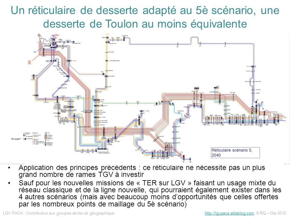 Application des principes précédents : ce réticulaire ne nécessite pas un plus grand nombre de rames TGV à investir Sauf pour les nouvelles missions d