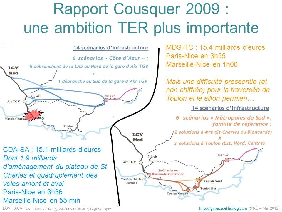 CDA-SA : 15.1 milliards deuros Dont 1.9 milliards daménagement du plateau de St Charles et quadruplement des voies amont et aval Paris-Nice en 3h36 Ma
