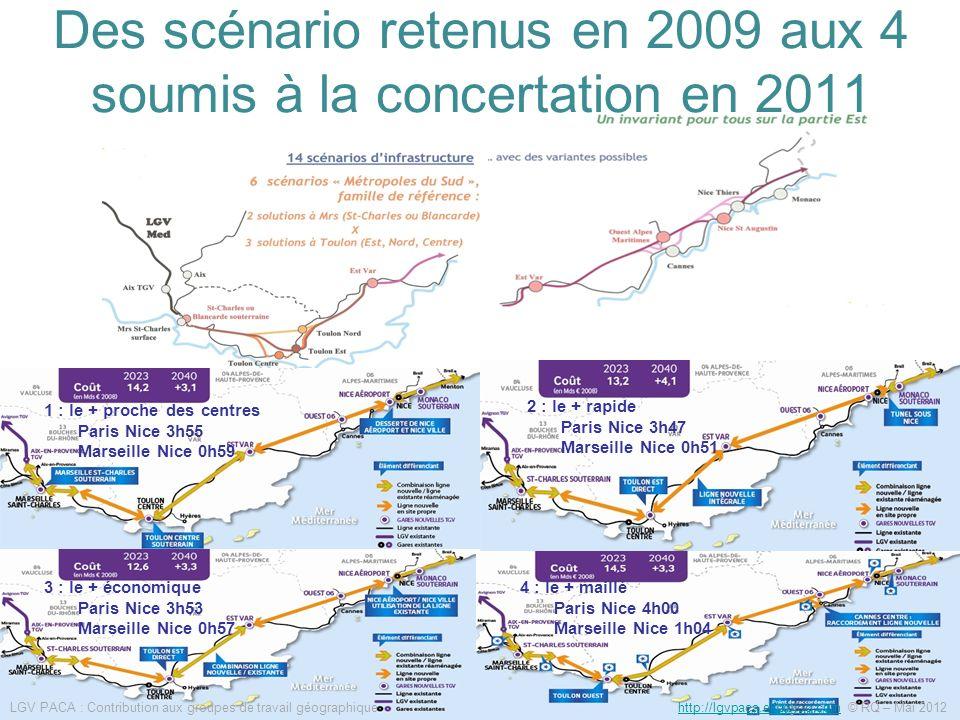 Des scénario retenus en 2009 aux 4 soumis à la concertation en 2011 1 : le + proche des centres Paris Nice 3h55 Marseille Nice 0h59 2 : le + rapide Pa