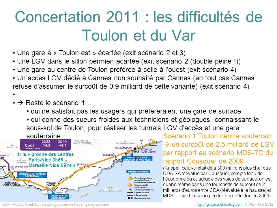 Scénario 1 Toulon centre souterrain un surcoût de 2.5 milliard de LGV par rapport au scénario MDS-TC du rapport Cousquer de 2009 (Rappel, celui-ci éta