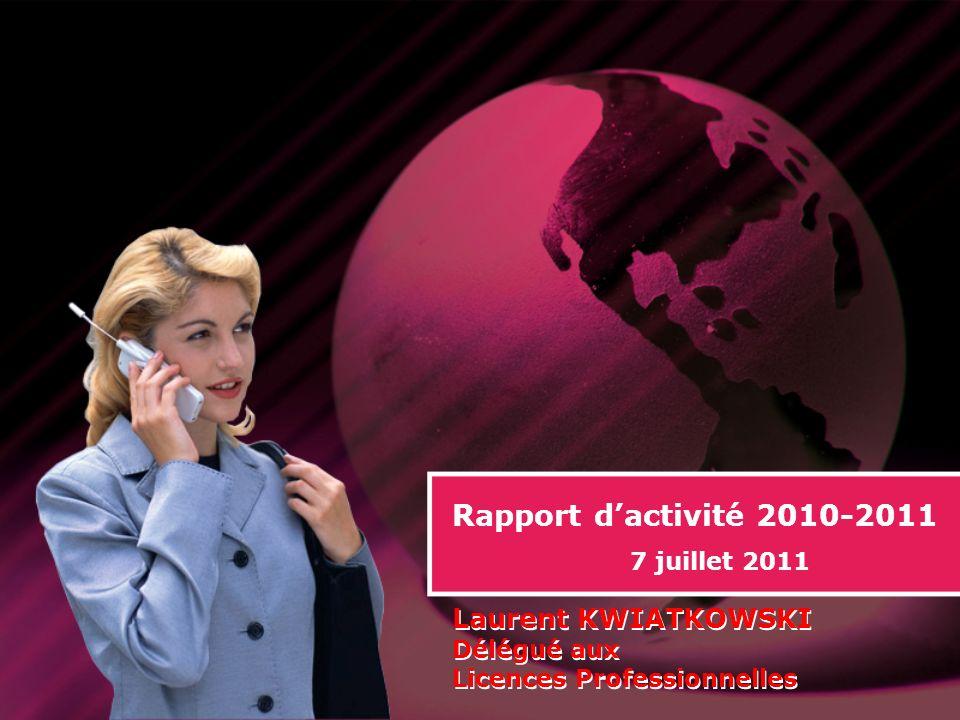 Rapport dactivité 2010-2011 7 juillet 2011 Laurent KWIATKOWSKI Délégué aux Licences Professionnelles