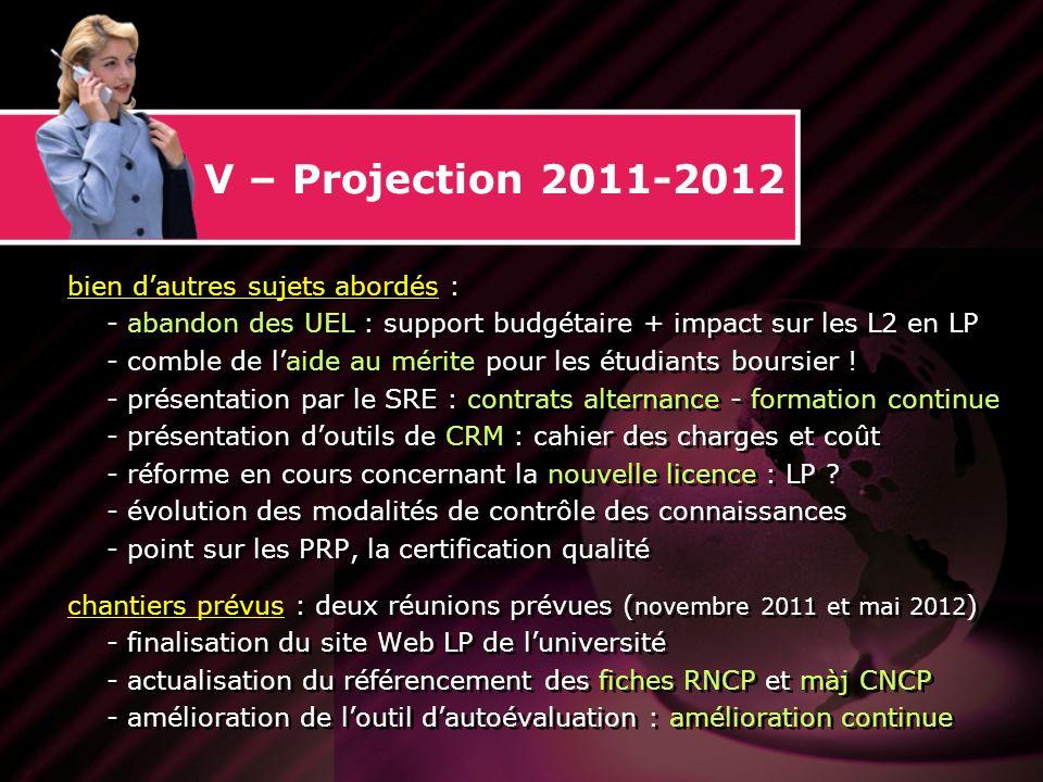 V – Projection 2011-2012 bien dautres sujets abordés : - abandon des UEL : support budgétaire + impact sur les L2 en LP - comble de laide au mérite pour les étudiants boursier .
