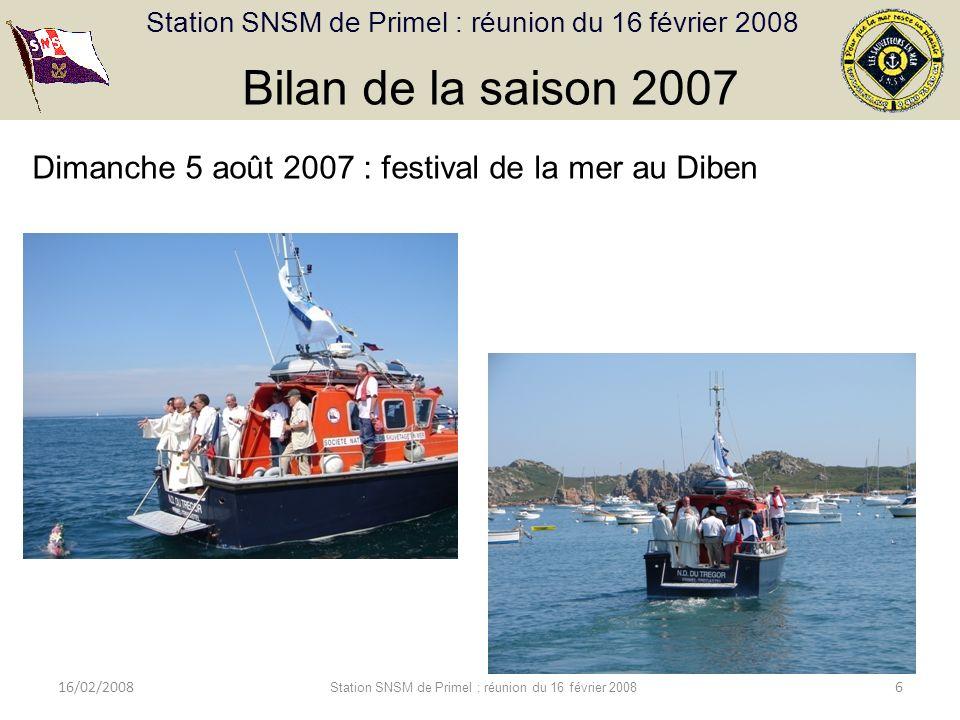 Station SNSM de Primel : réunion du 16 février 2008 16/02/2008 Station SNSM de Primel : réunion du 16 février 2008 6 Bilan de la saison 2007 Dimanche 5 août 2007 : festival de la mer au Diben