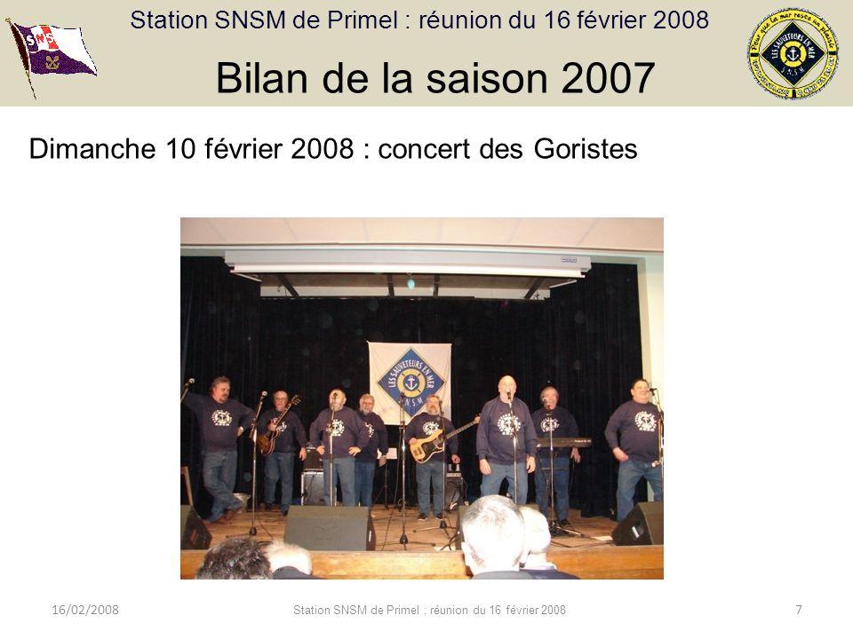Station SNSM de Primel : réunion du 16 février 2008 16/02/2008 Station SNSM de Primel : réunion du 16 février 2008 7 Bilan de la saison 2007 Dimanche 10 février 2008 : concert des Goristes
