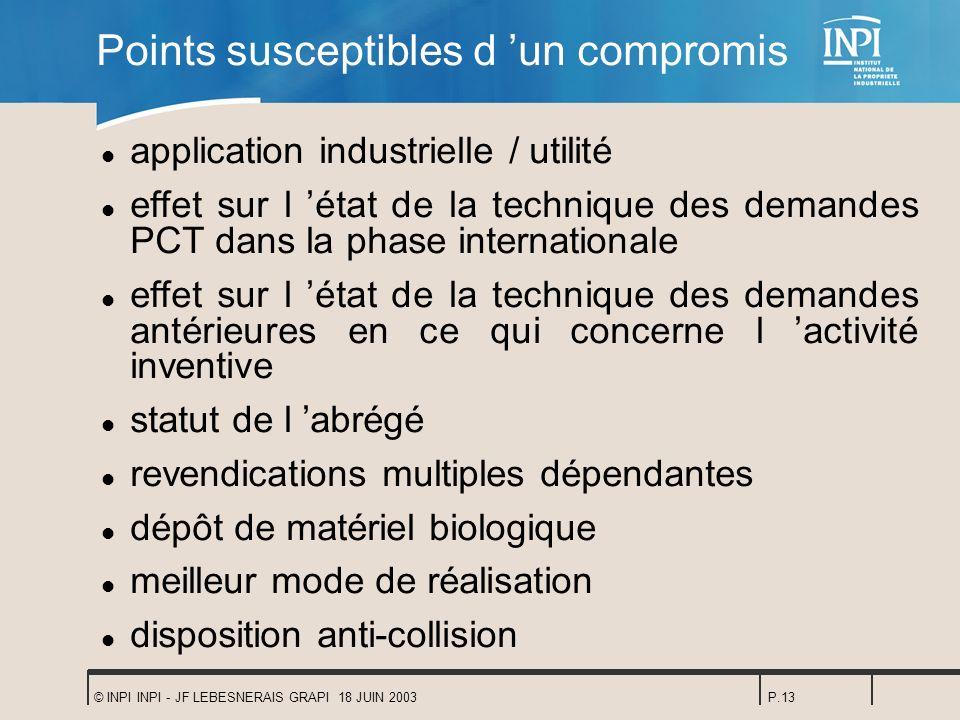 © INPI INPI - JF LEBESNERAIS GRAPI 18 JUIN 2003P.13 Points susceptibles d un compromis l application industrielle / utilité l effet sur l état de la t