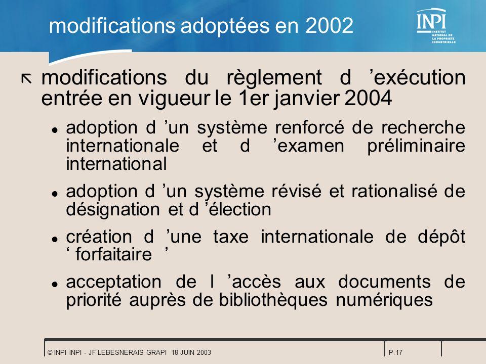 © INPI INPI - JF LEBESNERAIS GRAPI 18 JUIN 2003P.17 modifications adoptées en 2002 ã modifications du règlement d exécution entrée en vigueur le 1er j