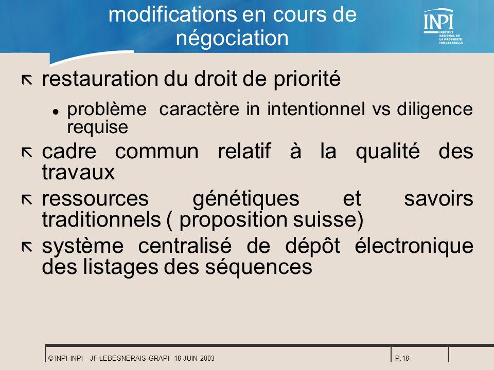 © INPI INPI - JF LEBESNERAIS GRAPI 18 JUIN 2003P.18 modifications en cours de négociation ã restauration du droit de priorité l problème caractère in