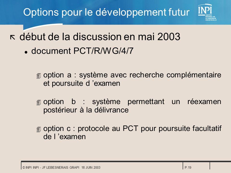 © INPI INPI - JF LEBESNERAIS GRAPI 18 JUIN 2003P.19 Options pour le développement futur ã début de la discussion en mai 2003 l document PCT/R/WG/4/7 4