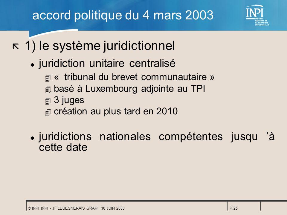 © INPI INPI - JF LEBESNERAIS GRAPI 18 JUIN 2003P.25 accord politique du 4 mars 2003 ã 1) le système juridictionnel l juridiction unitaire centralisé 4