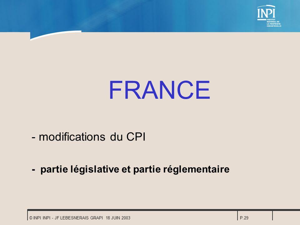 © INPI INPI - JF LEBESNERAIS GRAPI 18 JUIN 2003P.29 FRANCE - modifications du CPI - partie législative et partie réglementaire