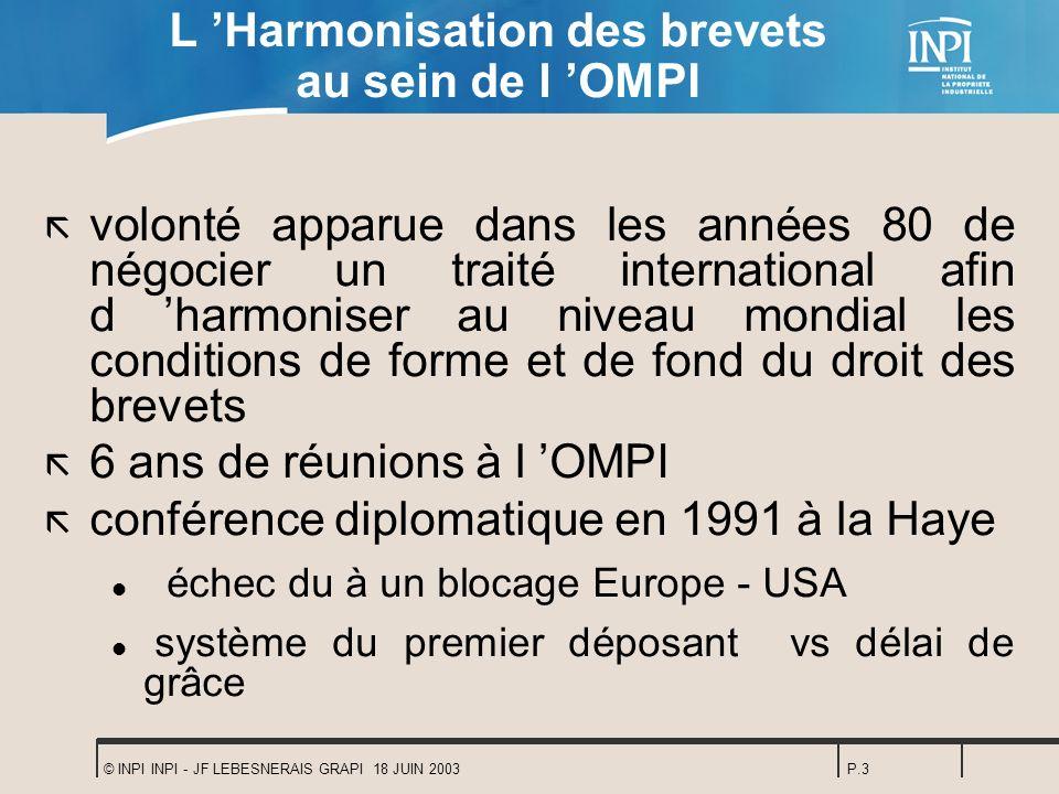 © INPI INPI - JF LEBESNERAIS GRAPI 18 JUIN 2003P.3 L Harmonisation des brevets au sein de l OMPI ã volonté apparue dans les années 80 de négocier un t