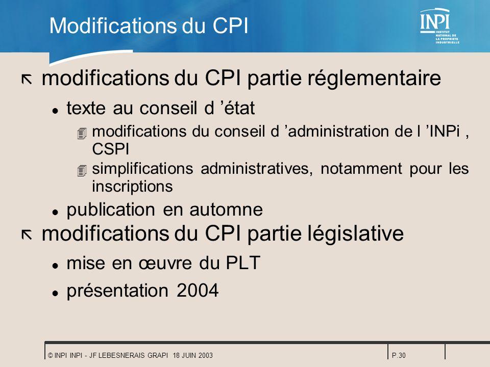 © INPI INPI - JF LEBESNERAIS GRAPI 18 JUIN 2003P.30 Modifications du CPI ã modifications du CPI partie réglementaire l texte au conseil d état 4 modif