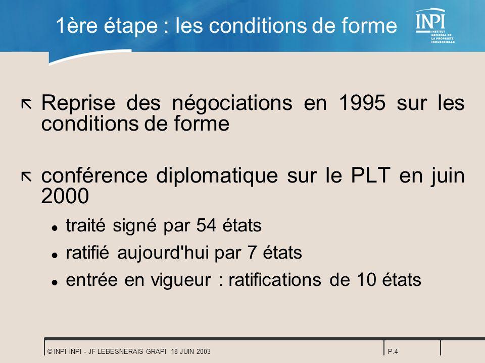 © INPI INPI - JF LEBESNERAIS GRAPI 18 JUIN 2003P.4 1ère étape : les conditions de forme ã Reprise des négociations en 1995 sur les conditions de forme