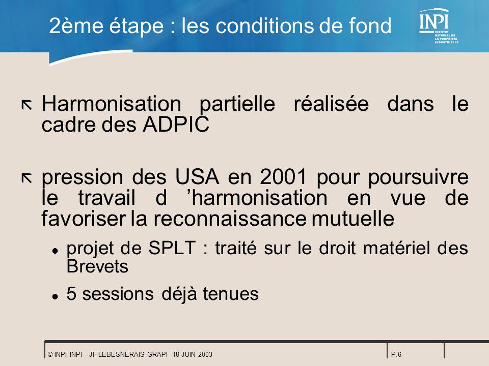 © INPI INPI - JF LEBESNERAIS GRAPI 18 JUIN 2003P.6 2ème étape : les conditions de fond ã Harmonisation partielle réalisée dans le cadre des ADPIC ã pr