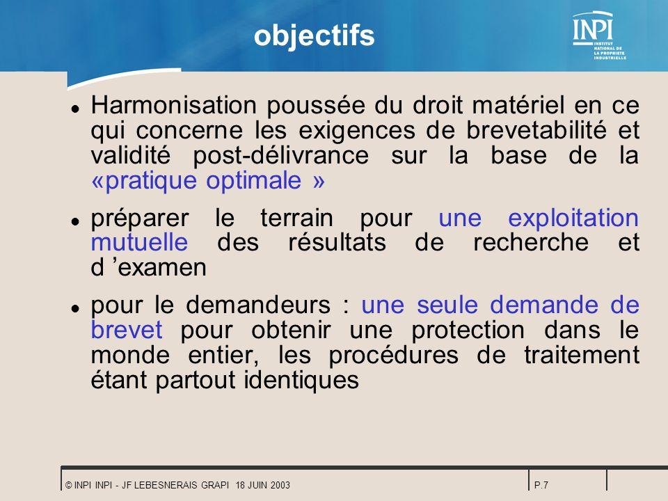 © INPI INPI - JF LEBESNERAIS GRAPI 18 JUIN 2003P.7 objectifs l Harmonisation poussée du droit matériel en ce qui concerne les exigences de brevetabili