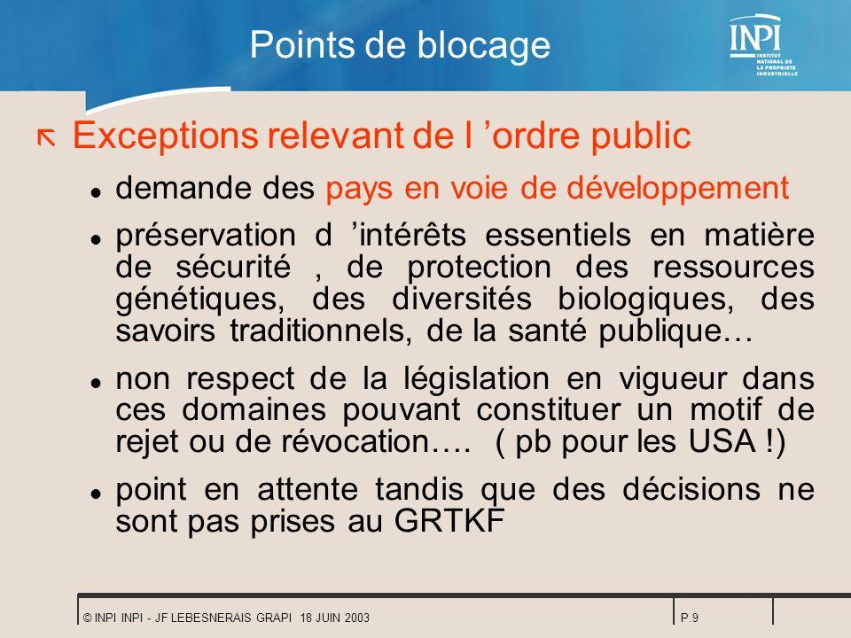 © INPI INPI - JF LEBESNERAIS GRAPI 18 JUIN 2003P.9 Points de blocage ã Exceptions relevant de l ordre public l demande des pays en voie de développeme