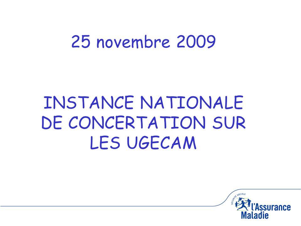 1 25 novembre 2009 INSTANCE NATIONALE DE CONCERTATION SUR LES UGECAM