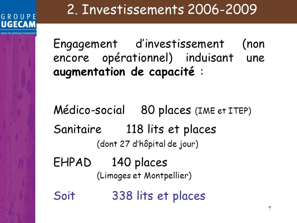 7 Engagement dinvestissement (non encore opérationnel) induisant une augmentation de capacité : Médico-social80 places (IME et ITEP) Sanitaire 118 lits et places (dont 27 dhôpital de jour) EHPAD140 places (Limoges et Montpellier) Soit 338 lits et places 2.