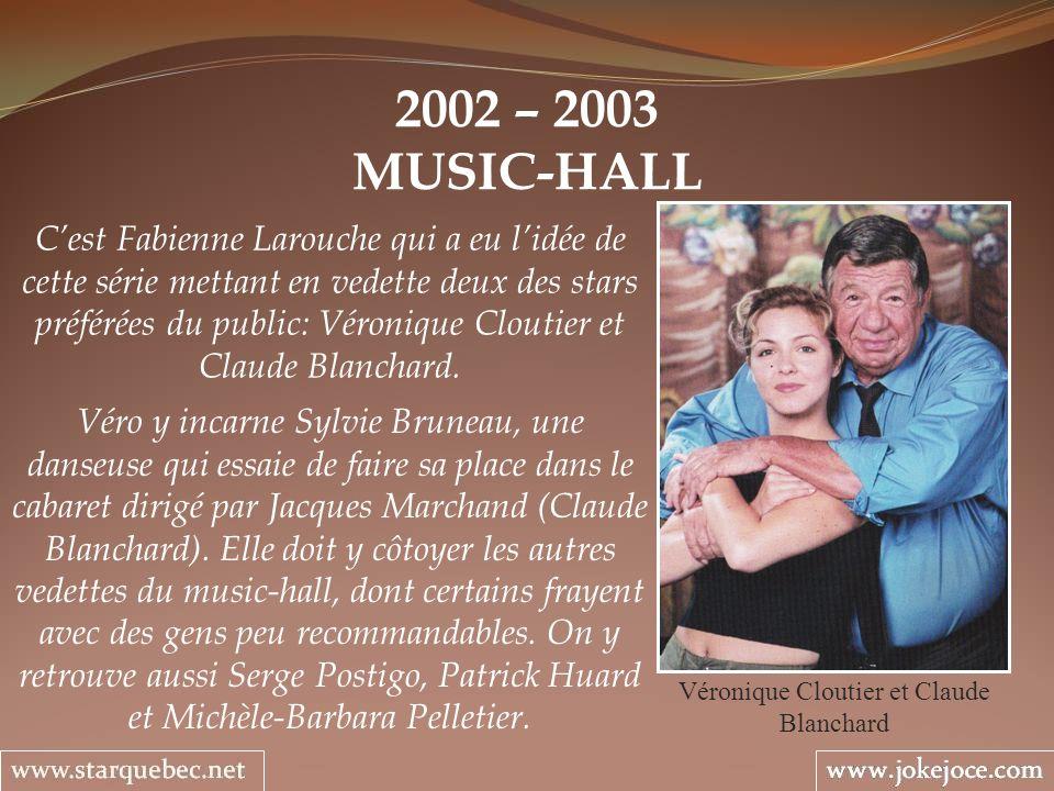 2002 – 2003 MUSIC-HALL Véronique Cloutier et Claude Blanchard Cest Fabienne Larouche qui a eu lidée de cette série mettant en vedette deux des stars p