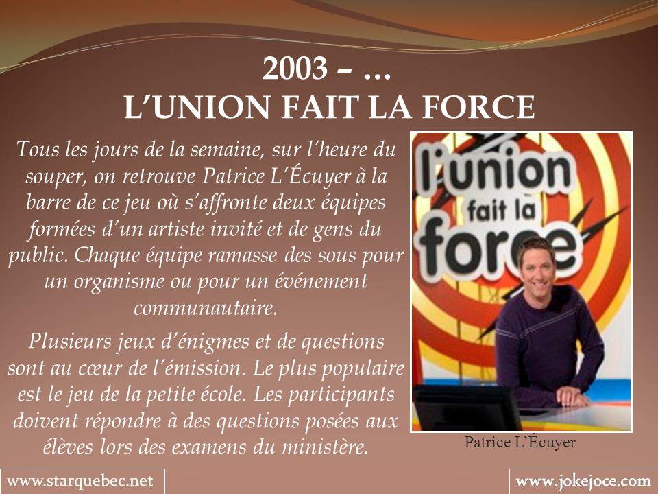 2003 – … LUNION FAIT LA FORCE Patrice LÉcuyer Tous les jours de la semaine, sur lheure du souper, on retrouve Patrice LÉcuyer à la barre de ce jeu où